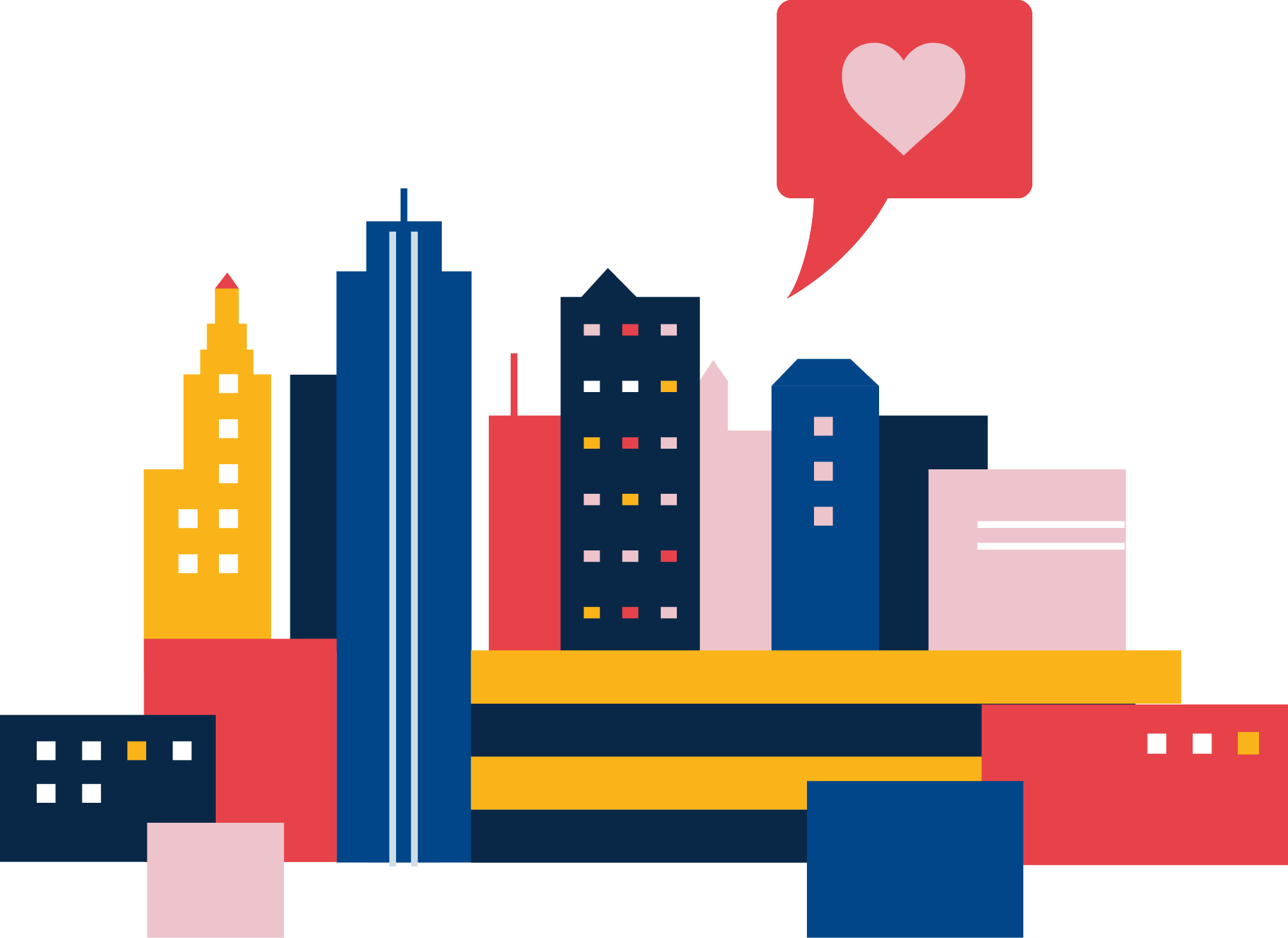 An illustration of the Kansas City skyline, with a heart icon at the top.