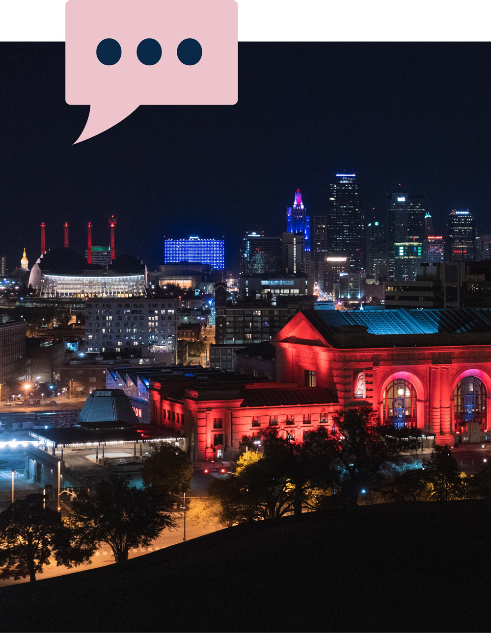 An image of the Kansas City skyline, taken at night, with an illustration of a quote bubble at the top.